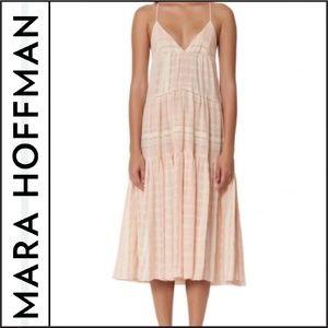 NWOT { Mara Hoffman } Pink Striped Midi Dress
